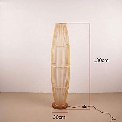 Lámpara de pie Bamboo Wicker Rattan Shade Jarrón Forma Lámparas de ...