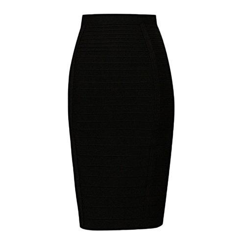 HLBandage Knee Length High Waist Stripe Rayon Bandage Skirt Noir