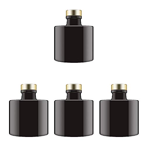 Feel Fragrance  Black Glass Diffuser Bottles Round Diffuser Jars with Gold Caps Set of 4 - 2.95 inches High, 100ml 3.4ounce. Fragrance Accessories Use for DIY Replacement Reed Diffuser Sets. (Reed Set Replacement)