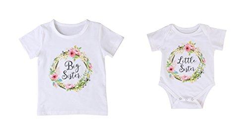 Rush Dance Boutique Newborn Lil Little Sister Big Sister Outfit Dress Sets (Newborn Little Sister & Big Sister 6Y, Little Sister - White Flowery)