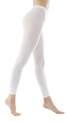 Women's 80Denier Semi Opaque Solid Color Footless Pantyhose Tights 2pair or 6pair (S/M, White) (Tights White Footless)