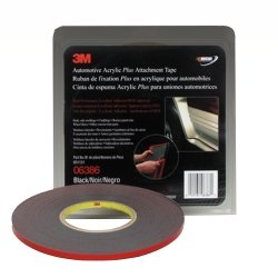 3M Automotive Acrylic Plus Attachment Tape, Black, 1/4