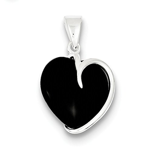 .925 Sterling Silver Onyx Heart Charm Pendant