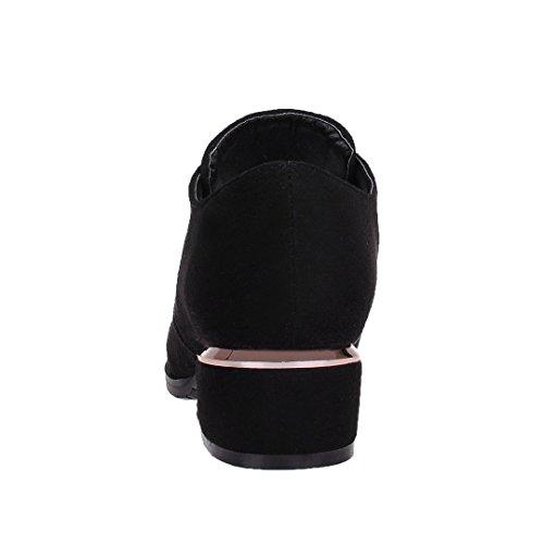 Enmayer Vrouwen Nubuck Materiaal Lage Hakken Lace-up Puntige Teen Casual Fasion Schoenen Zwart