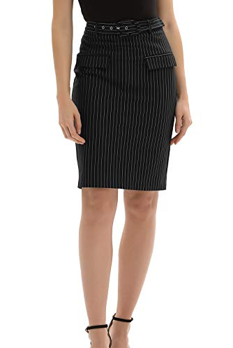 GRACE KARIN Knee Length Pencil Skirt Wear to Work Bodycon Striped Skirts(Small,Black) ()