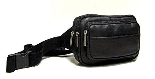 Le Donne Leather Four Compartment Waist Bag,One Size,Black