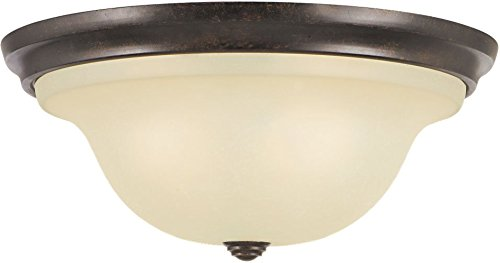(Feiss FM252GBZ Vista Glass Flush Mount Ceiling Lighting, Bronze, 3-Light (15