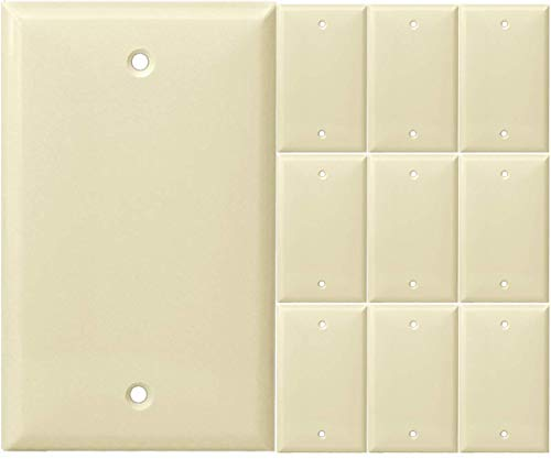 Blank Wall Plate Cover, 1 Gang Faceplate, Thermoplastic/Nylon Outlet Cover, Cover Unused Phone Jacks, Electrical Boxes, Receptacles, Electric Outlets (10 Pack, Almond)