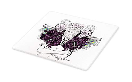 Ambesonne Skull Cutting Board, Tribal Lady with Horned Goat Head and Peacock Feather Mystic Voodoo Pattern, Decorative Tempered Glass Cutting and Serving Board, Large Size, Multicolor (Cutting Board Voodoo)