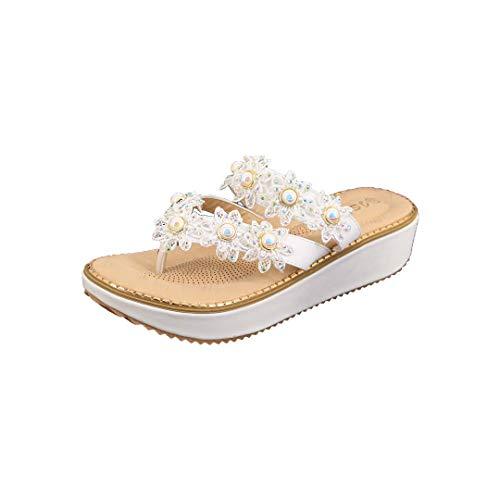 Rebecca Women's Summer T-Strap Thong Platform Slide Sandals Beach Flip Flops with Gorgeous Rhinestone Flowers White