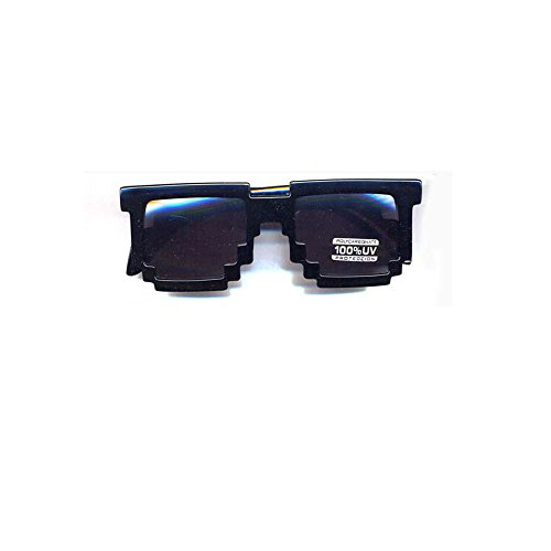 9204/93 8 Bit Glasses Dark Tint Lens Shiny Black Frame -