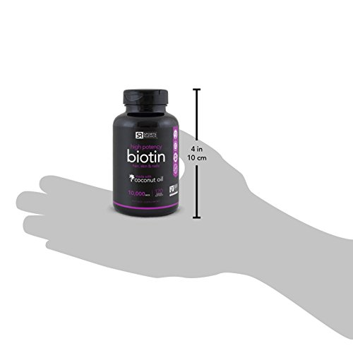 High Potency Biotin (10,000mcg) with Organic Coconut Oil; Supports Hair Growth, Glowing Skin and Strong Nails; 120 Mini-Veggie Softgels by Sports Research (Image #6)