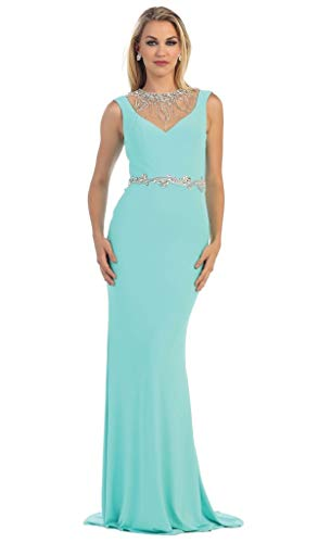 3d6aefcc3e May Queen MQ1255 Bejeweled Sheer Sheath Evening Dress in Mint