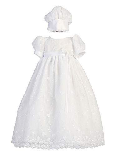 SWEA Pea & Lilli Emma Girls Christening Baptism Embroidered Tulle Gown Dress (0-3m) White