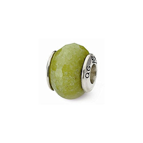 Sterling Silver Reflections Apple Green Quartz Stone Bead ()
