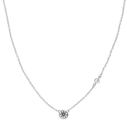 (Silpada 'Marvel' Circular Cubic Zirconia Station Necklace in Sterling Silver, 16