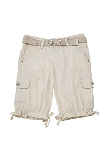 Price comparison product image [A33301-KHK-10] Chilipop Girls Bermuda Shorts, Stretch Poplin, Belted, Leg Ties, Khaki