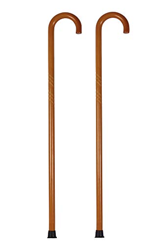 Pair of Wooden Walking Cane, Round Handle, Solid Wood, Walking Stick, 35.5