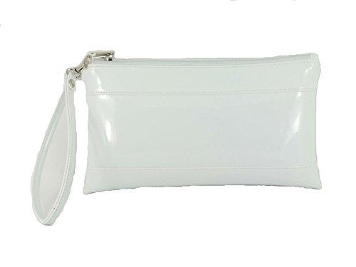 Wallet Loni Adorable Women Wrist for Bag Detachable Womens Clutch Strap Purse with White Patent 44rFXw