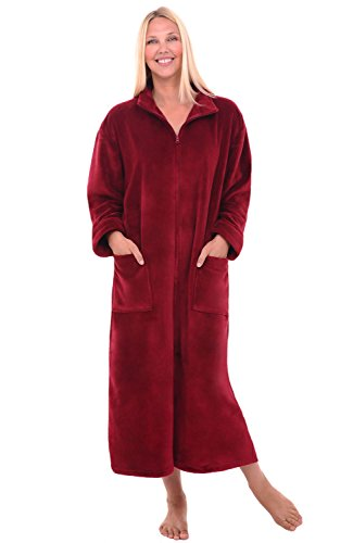 Alexander Del Rossa Womens Fleece Robe, Soft Zip-Front Bathrobe, 1X 2X Burgundy (A0300BRG2X)