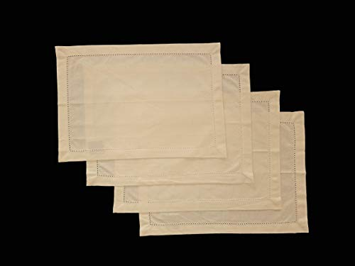 - HomweLinen Table Placemats, 100% Cotton Hemstitch Border Embroidery Placemat Set of 4-13x19 Inch, Natural Ivory Chambray, Suitable for Dinner, Events & Weddings