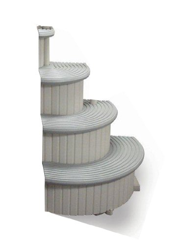 Confer Gray 4-Step Above Ground Swimming Pool Entry Steps Curved Add-on CCXAG2