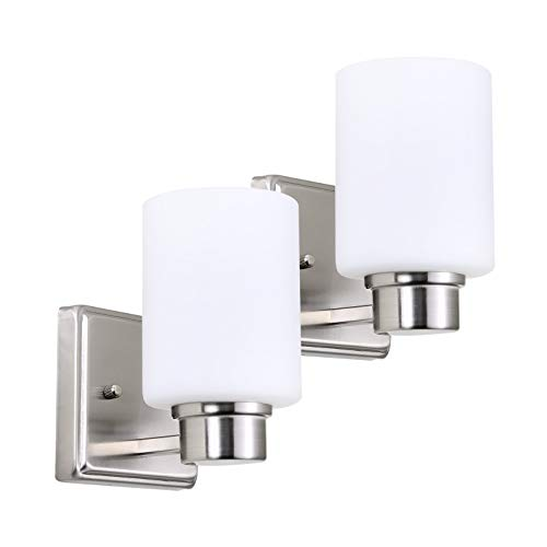 In Home 1-Light Bath Bar Light Up or Down, Interior Bathroom Vanity Wall Lighting Fixture VF44, 1x60 Watt E26 Socket, Brushed Nickel Finish with White Glass Shade (2 Pack) UL Listed