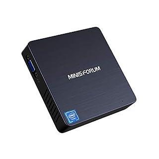 MINISFORUM Windows 10 Pro Mini PC, Intel Celeron N3350 Dual-Core Processor, 4GB LPDDR4 64GB eMMC, Fanless Mini Desktop Computer Support 4K HD/HDMI+VGA Port/Dual WiFi/Gigabit Ethernet/BT 4.2