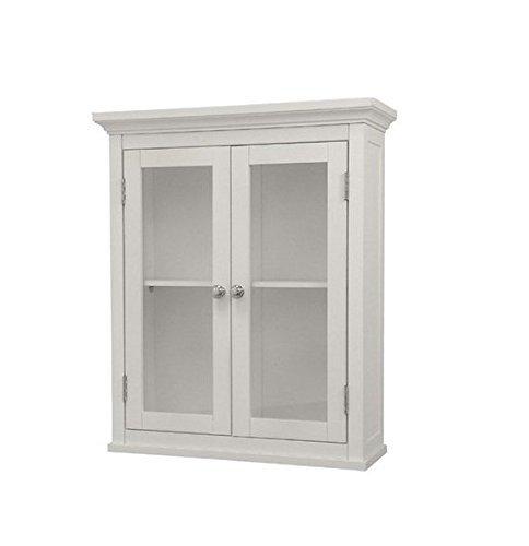 (Classique Elegant Wood Wall Cabinet (White), Two Glass Doors, Shelf, Bathroom, Kitchen, Toiletries Medicine Storage)