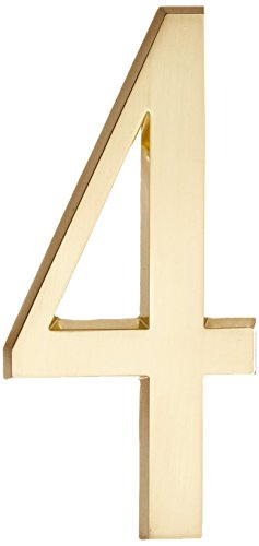"Whitehall Collection (Whitehall Products DeSign-it Standard Plaque, 4.75"" Number 4 Satin Brass)"