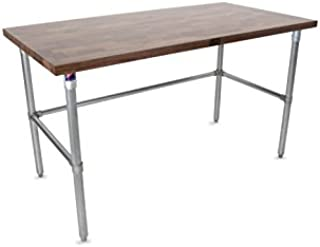 """product image for John Boos WAL-JNB09-V Blended Varnique Finished Top with Galvanized Base and Bracing, 35"""" Height, 60"""" Length, 30"""" Width, 1-1/2"""" Thick, Walnut"""