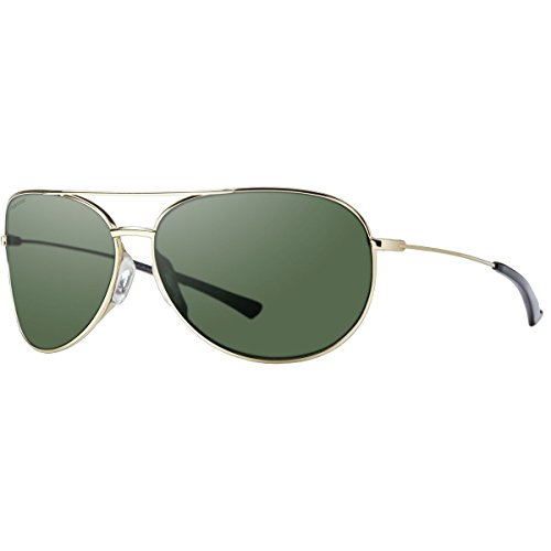 Smith Optics Rockford Slim Sunglasses, Gold Frame, Polar Gray Green Carbonic TLT - Face Slim For Sunglasses