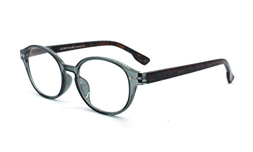 EYE-ZOOM Classic Oval Style Reading Glasses with Spring Hinge Comfort Fit for Men and Women Choose Your Magnification, Grey, +2.25 - Eye John Color Lennon