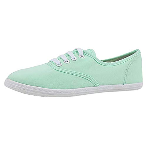 Canvas Flat Sneakers for Women,ONLYTOP Women Summer Sneakers Low Top Lace Up Lightweight Casual Slip on Shoes Mint Green