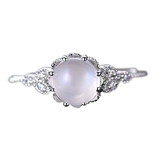 Napoo--Rings Women Fashion Handmade Diamond Moonstone Encrusted Stylish Ring Engagement Ring (Silver, 6)