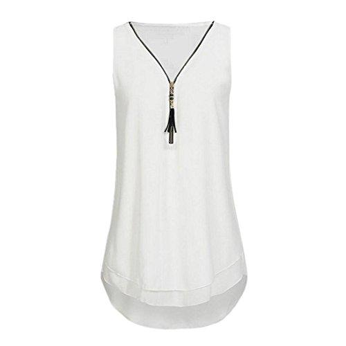 iYBUIA Women Loose Sleeveless Solid Tank Top Cross Back Hem Layed Zipper V-Neck T Shirts Tops (Zipper Back Solid)
