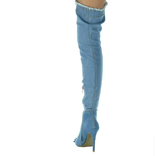 Denim Jeans Cuissarde Effiloch Chaussure stiletto Angkorly sexy Mode femme ISxz17w
