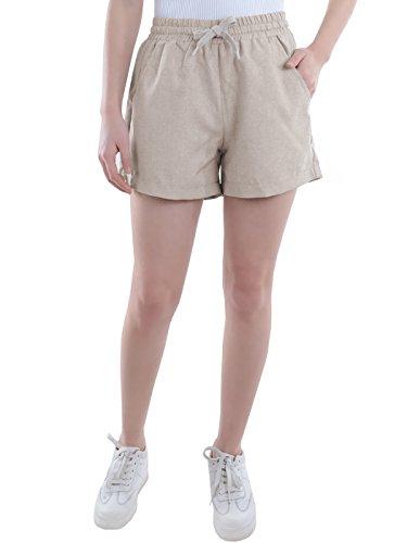 Khaki Walking Shorts - Anna-Kaci Juniors Casual Chambray Four-Pocket Drawstring Walking Shorts, Khaki, Medium