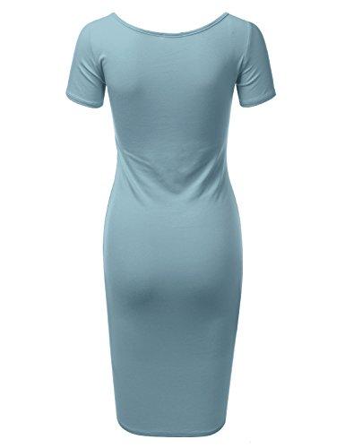 Doublju Manches Courtes Équipé Femmes Robe Midi Moulante Solide Et Imprimé Plus La Taille (made In Usa) Awdmd0227_steelblue