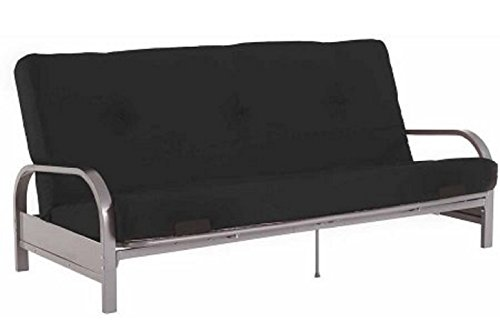 Modern Convertible Futon Sofa Bed Silver Metal Arm Futon Frame with Full Size (Metal Modern Futon Frame)