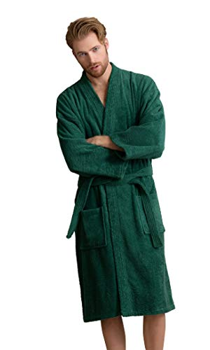 Men's Robe, Turkish Cotton Terry Kimono Spa Bathrobe (Green, Small)
