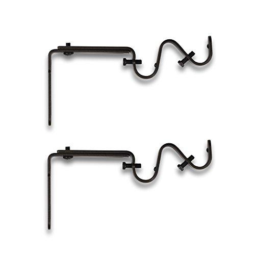 Umbra Adjustable Bracket for Double Drapery Rod, Set of 2, (Bronze Adjustable Metal Rod)
