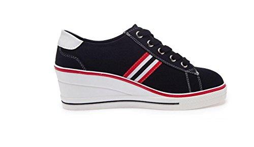 Zapatos de Cuña de bajo Zapatos de Plataforma de Mujer Zapatos Cordones Deporte de con Ocasionales Black Lona Inferior Gruesa Tacón Zapatillas YFCdqF7