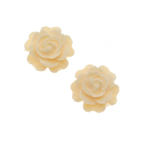 (Beadaholique Vintage Look Lucite Cabochon Bead 2-Piece Flower Rose Beads, 15mm, Ivory)