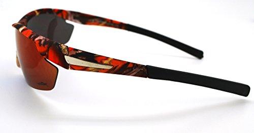 Vertx léger durable pour homme et pour femme Athletic Sport Wrap Lunettes de soleil Chasse Pêche W/étui microfibre gratuit Orange Camo Frame - Blue/Green Lens