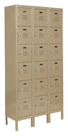 Edsal CL5123TN Citadel Traditional Multi-Tier Locker, Unassembled, Powder Coated Finish, Three Wide 18 Opening, 12