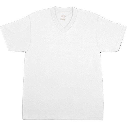 MX Mens Premium Heavy Blend Comfort V Neck T Shirt Solid Short Sleeve Casual Cotton Tee (Heavyweight V-neck T-shirt)