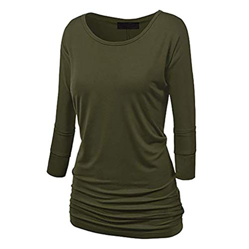 Needra Shirring Blouse Tops Petite Teen Girls Women Long Sleeve O-Neck fold with Side Olive Green