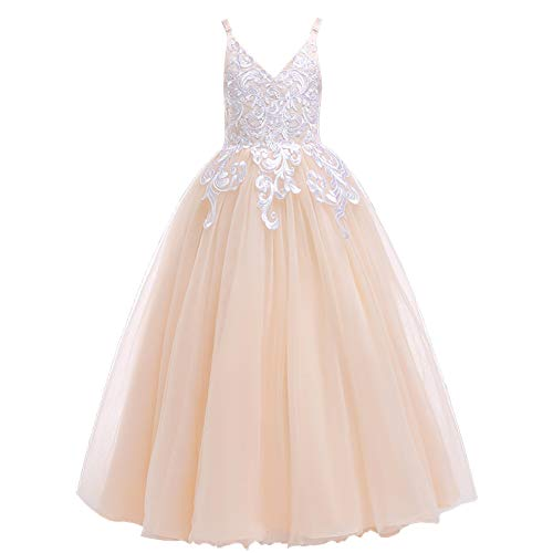 Weileenice 3-16Y Big Girls Lace Bridesmaid Dress Dance Gown A Line Dresses Long for Party Wedding (9-10Y, Champagne)
