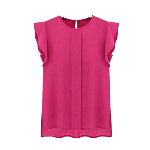 Womens Blouse Casual Loose Chiffon Short Round Neck Tulip Sleeve Shirt Tops (Hot Pink, XL)